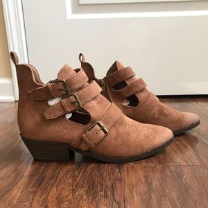 Universal Threads Micro Suede Buckle Booties